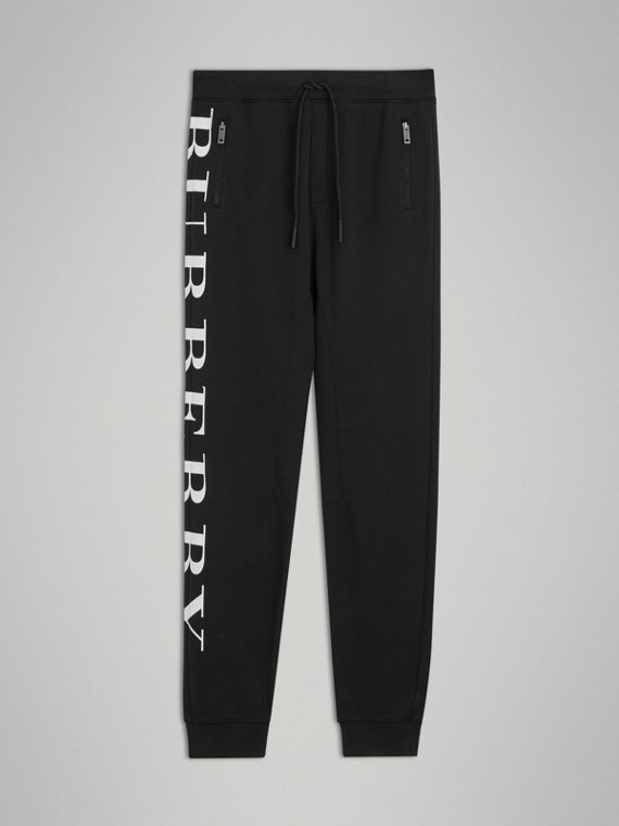 Logo Print Cotton Trackpants in Black