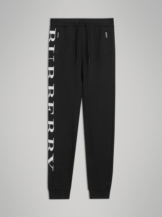 Pantalon de survêtement en coton avec logo imprimé (Noir)