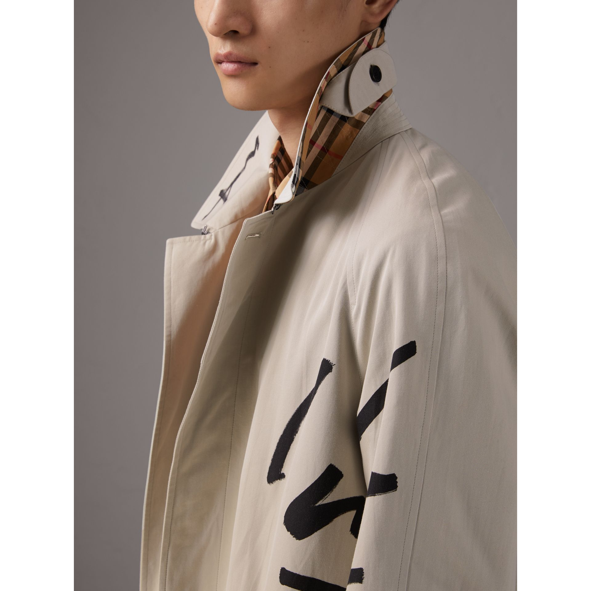 Burberry x Kris Wu Gabardine Car Coat in Stone - Men | Burberry - gallery image 5