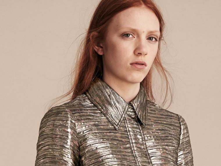 Gris brume Robe chemise à motif métallisé tissé en jacquard - cell image 4