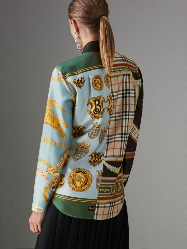 Archive Scarf Print Silk Shirt in Airforce Blue - Women | Burberry Hong Kong - cell image 2