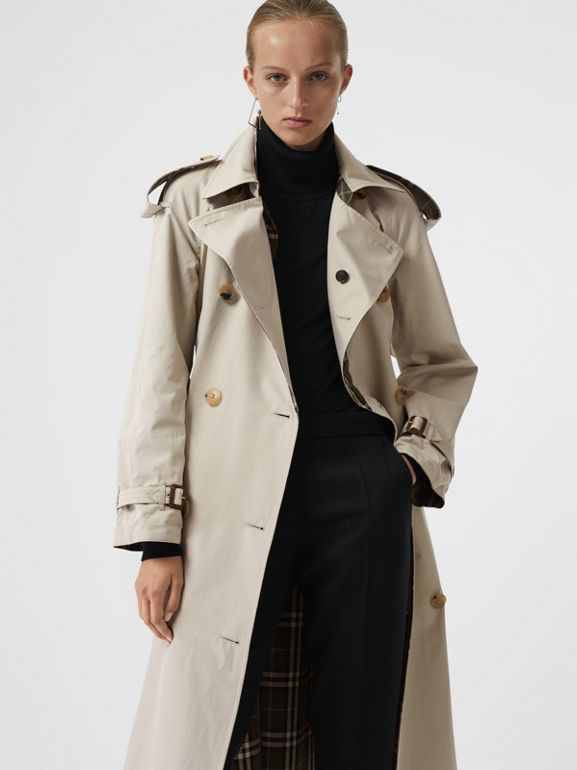 Reversible Tropical Gabardine and Check Trench Coat in Olive Green - Women | Burberry - cell image 1