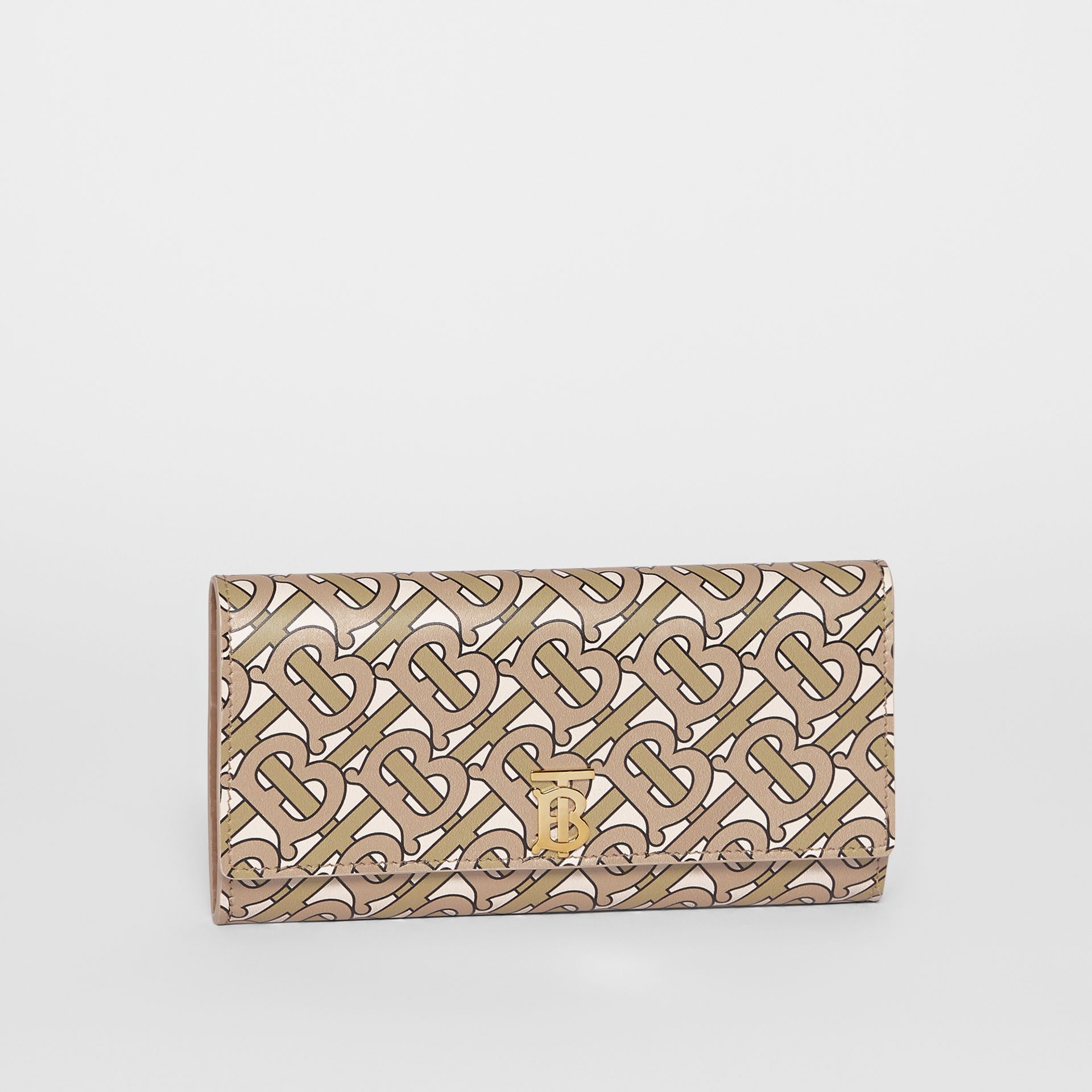 Monogram Print Leather Continental Wallet in Beige - Women | Burberry - gallery image 4