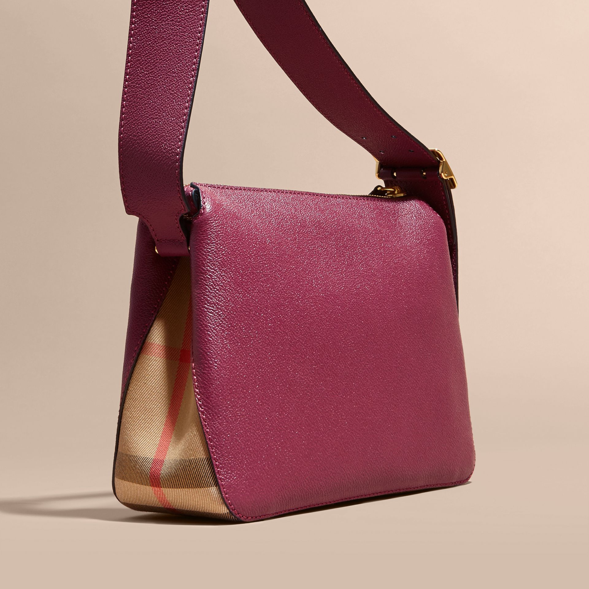 Buckle Detail Leather and House Check Crossbody Bag in Dark Plum - Women | Burberry - gallery image 3