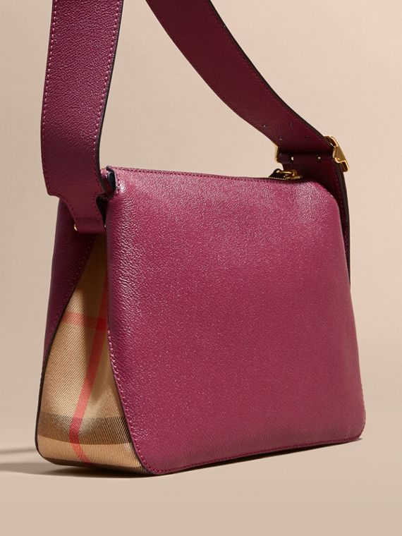 Buckle Detail Leather and House Check Crossbody Bag in Dark Plum - Women | Burberry - cell image 3