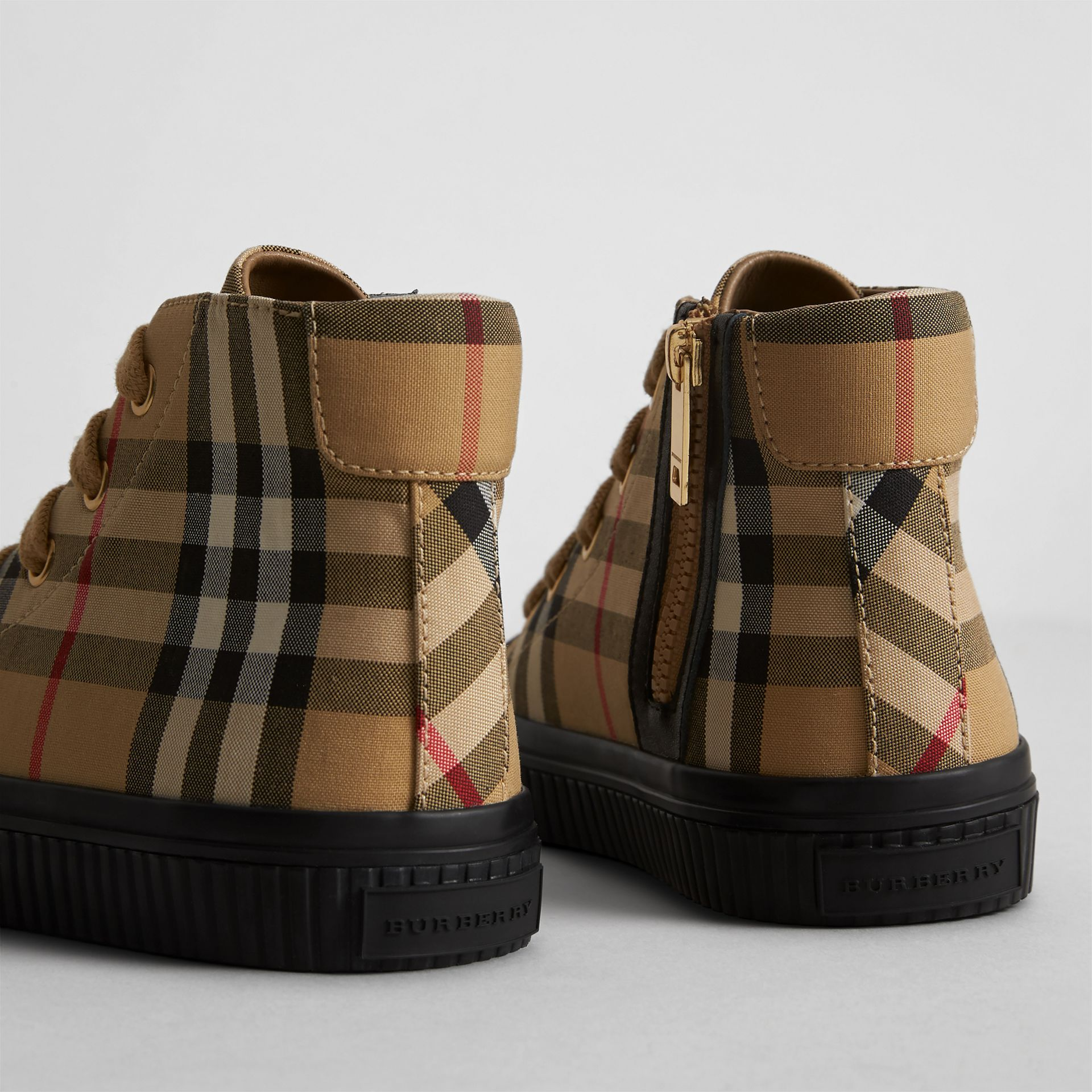 Vintage Check and Leather High-top Sneakers in Antique Yellow/black | Burberry Canada - gallery image 2