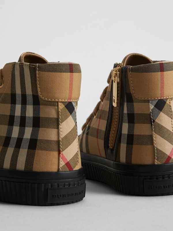 Vintage Check and Leather High-top Sneakers in Antique Yellow/black | Burberry - cell image 2