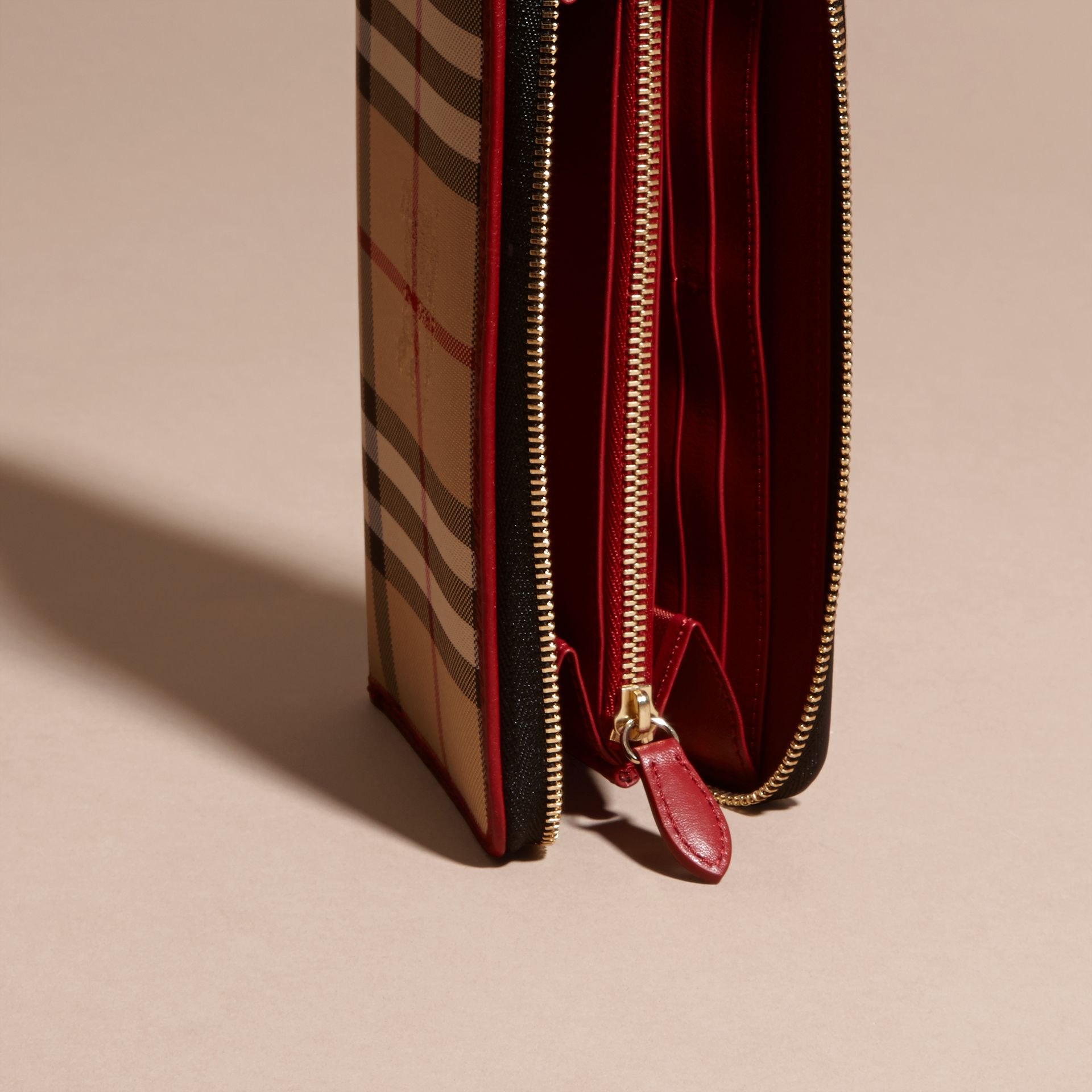 Horseferry Check and Leather Ziparound Wallet in Parade Red - Women | Burberry Canada - gallery image 5