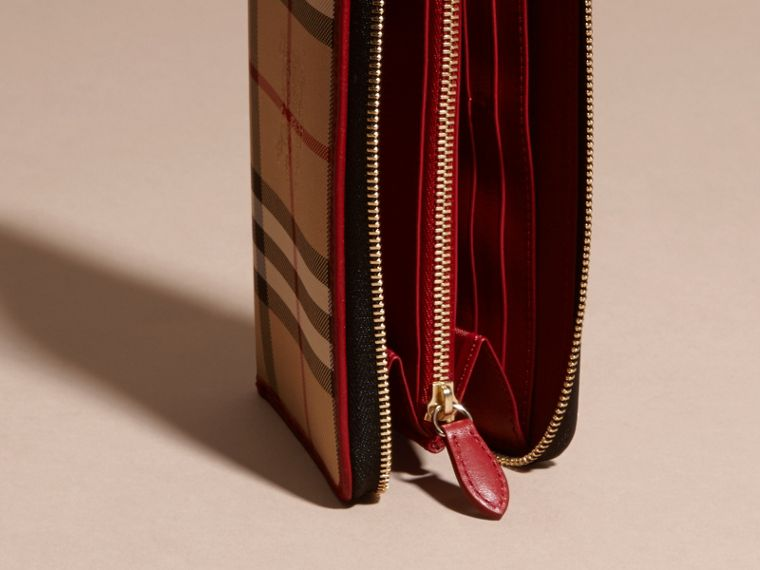 Horseferry Check and Leather Ziparound Wallet in Parade Red - cell image 4