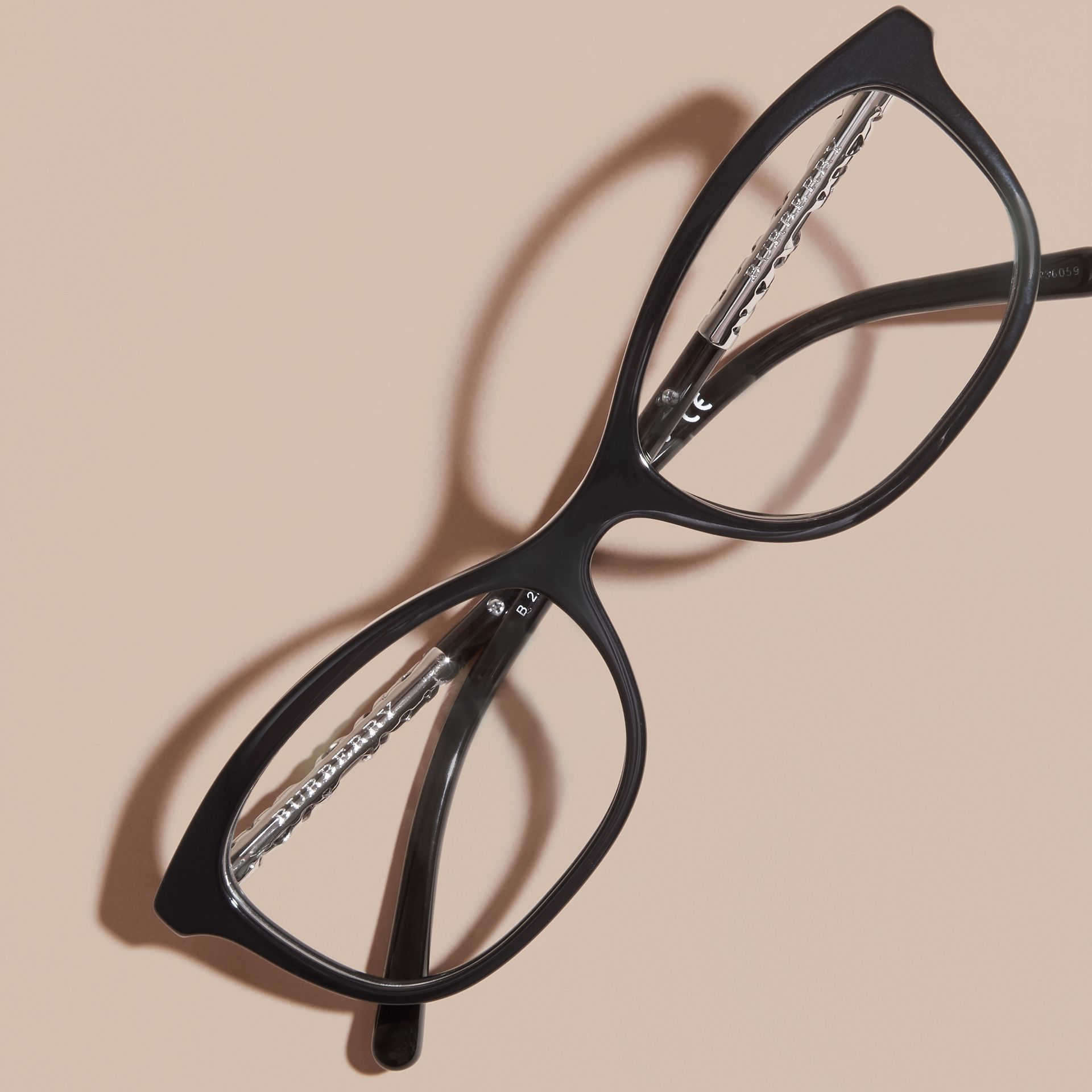 Black Check Detail Oval Optical Frames Black - gallery image 4