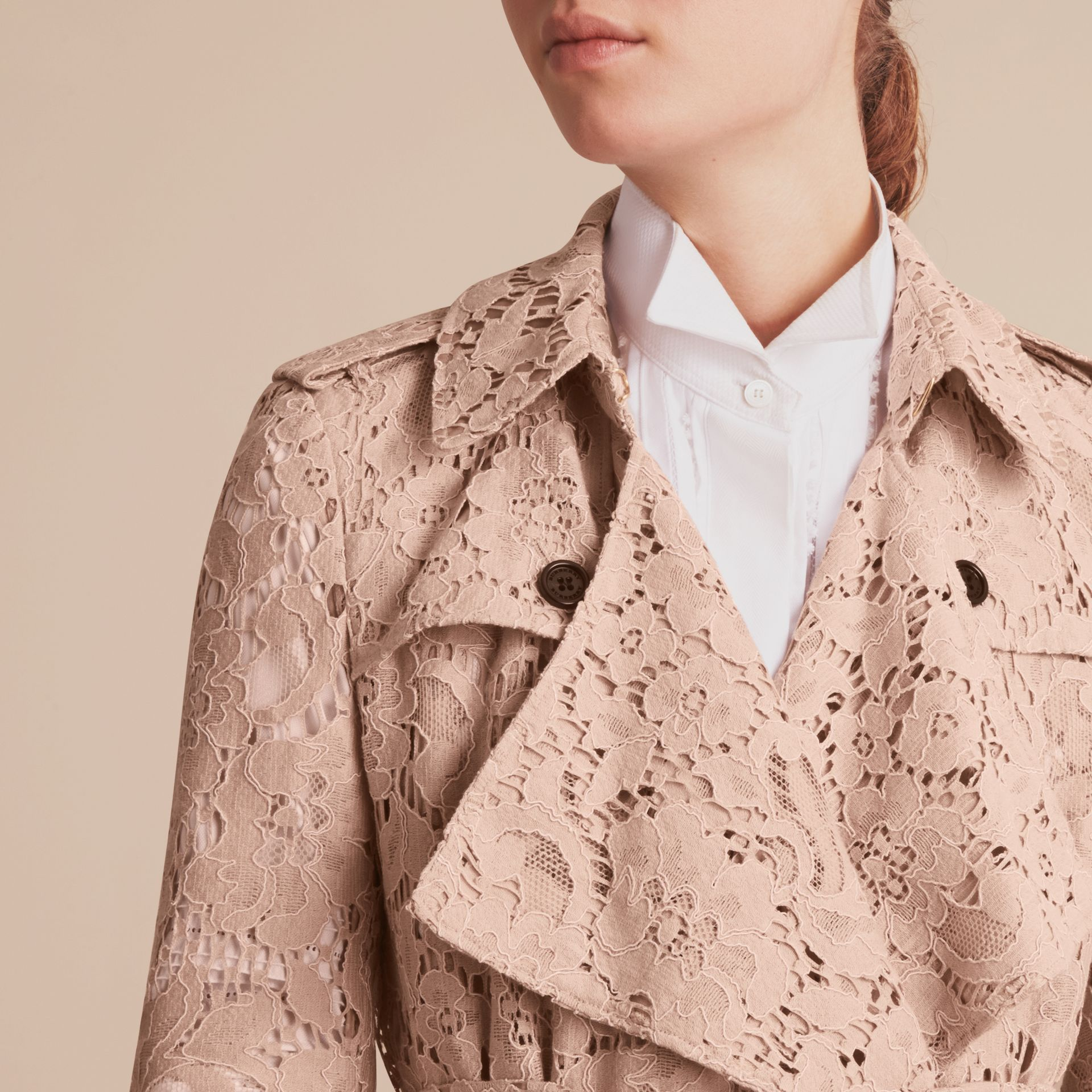 Macramé Lace Wrap Trench Coat - gallery image 6