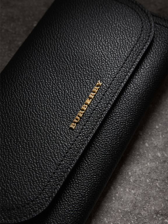 Grainy Leather Slim Continental Wallet in Black - Women | Burberry - cell image 1