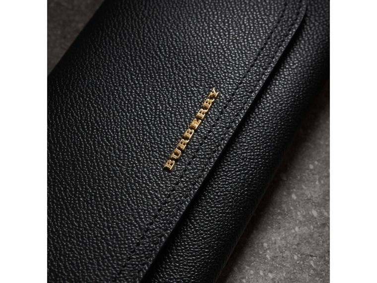 Grainy Leather Slim Continental Wallet in Black - Women | Burberry Canada - cell image 1