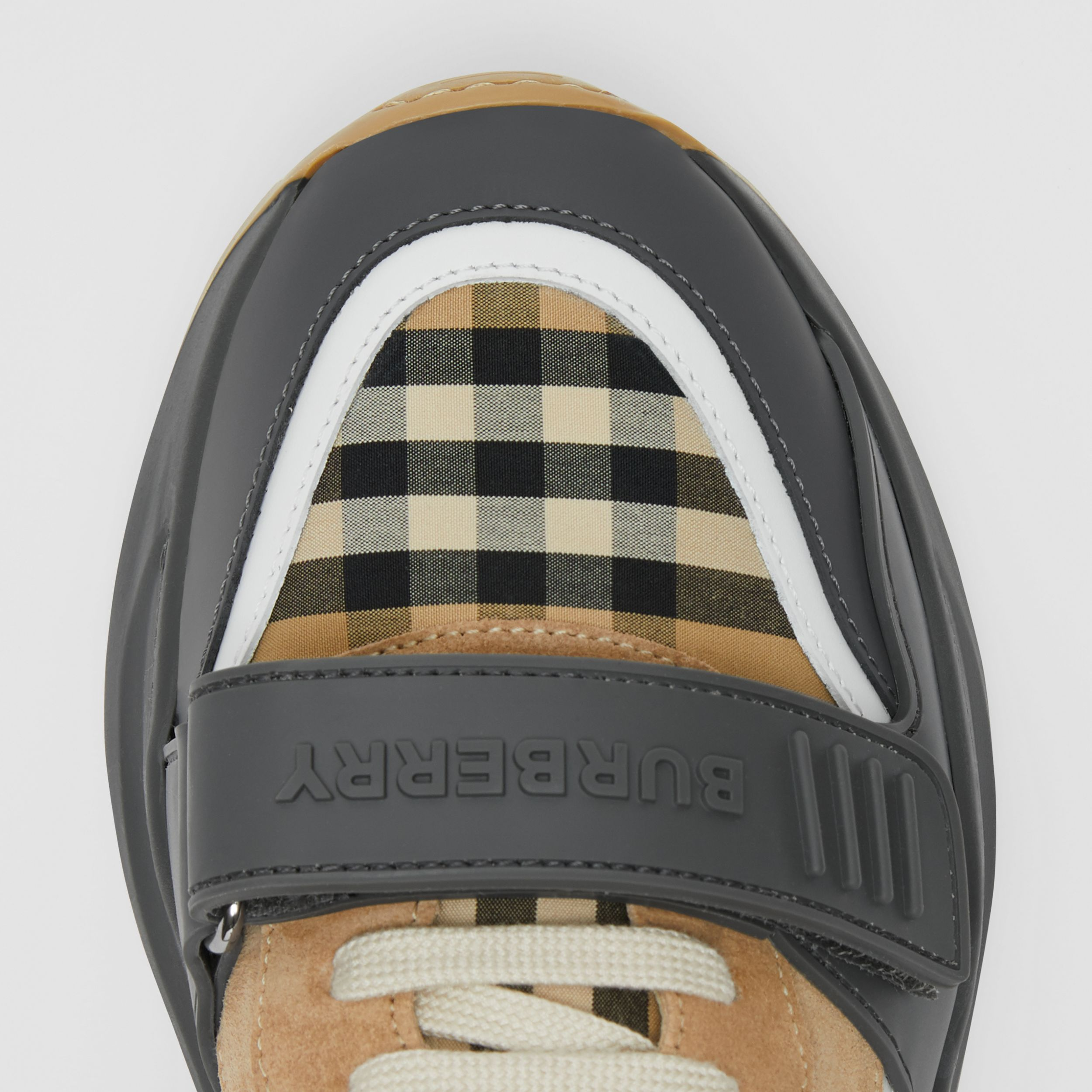 Vintage Check, Suede and Leather Sneakers in Grey/archive Beige - Women | Burberry - 2