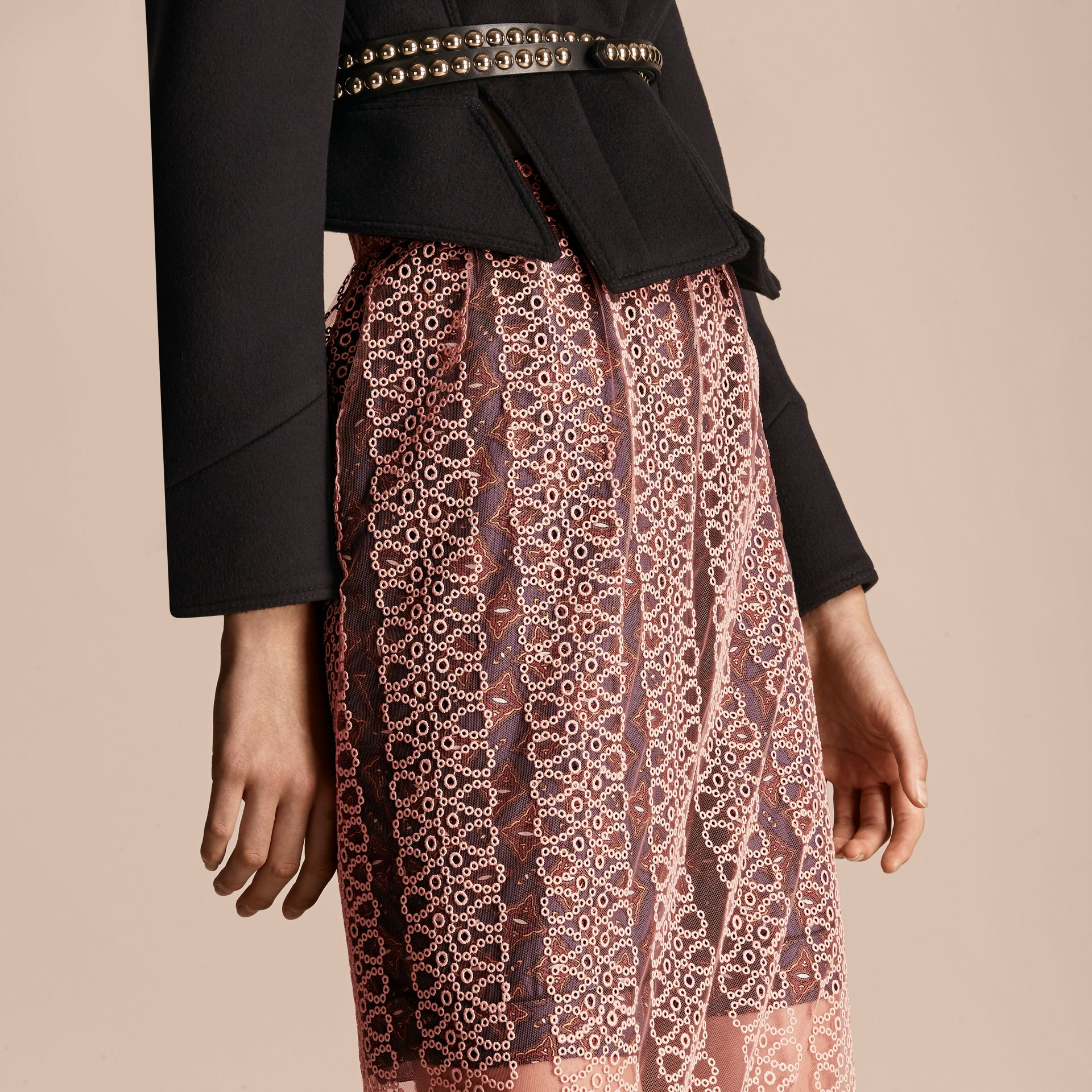 Rosa claro Saia estilo coluna de tule com faixas de bordado - galeria de imagens 5