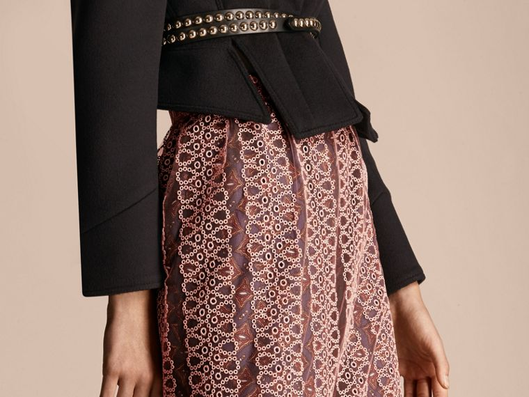 Rosa claro Saia estilo coluna de tule com faixas de bordado - cell image 4