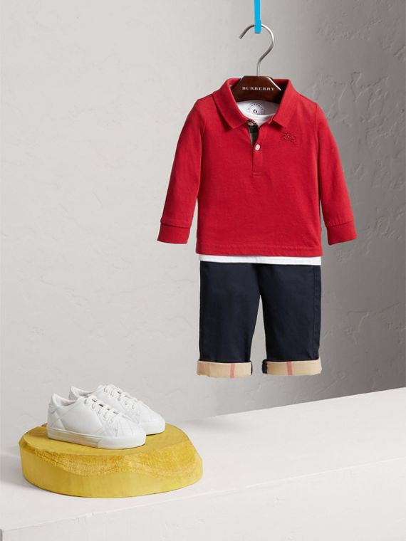 Check Trim Long-sleeved Cotton Polo Shirt in Military Red