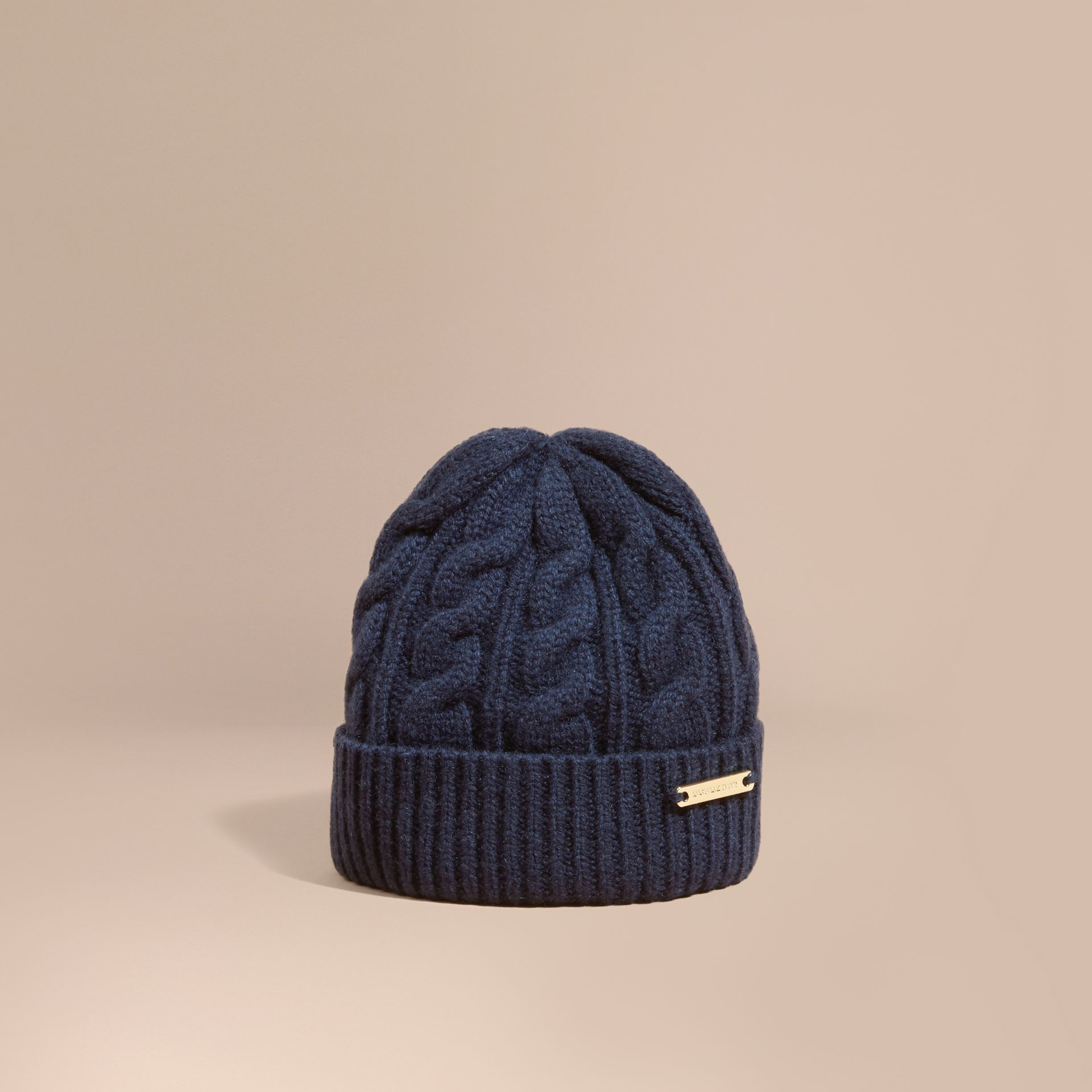 Navy Cable Knit Wool Cashmere Beanie - gallery image 1