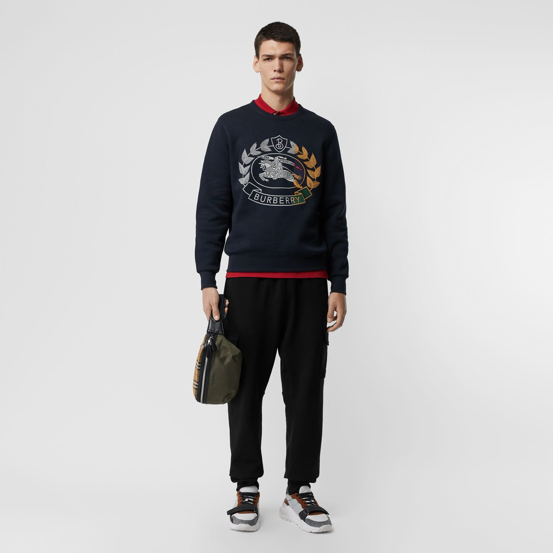 Embroidered Crest Jersey Sweatshirt in Navy - Men | Burberry - gallery image 0