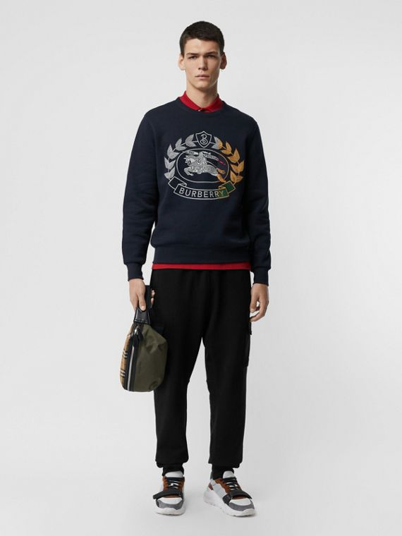 Embroidered Crest Jersey Sweatshirt in Navy