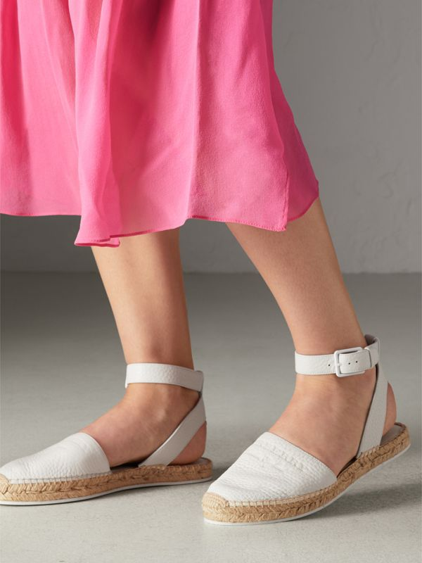 Embossed Grainy Leather Espadrille Sandals in Optic White - Women | Burberry - cell image 2