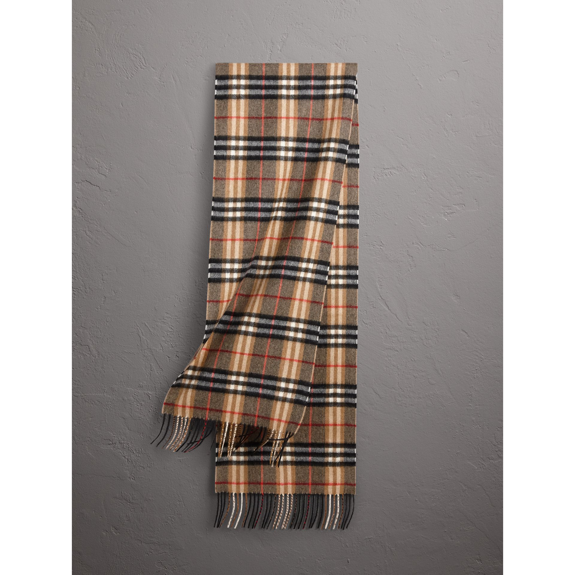 Check Cashmere Scarf in Camel | Burberry United Kingdom - gallery image 0