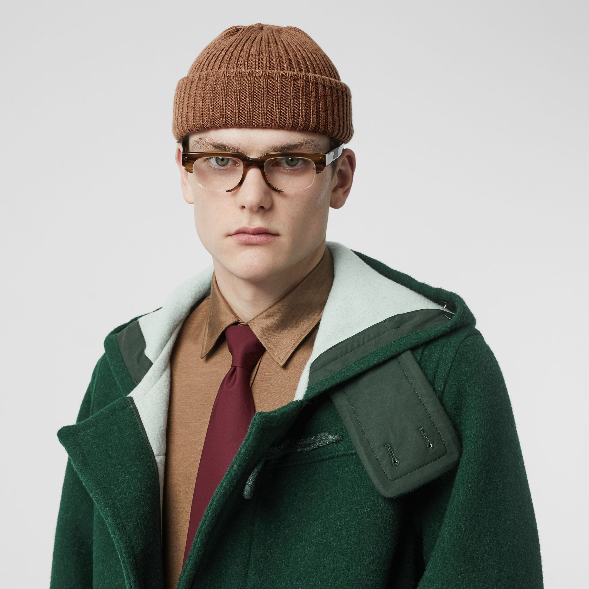 Stripe Detail Double-faced Wool Duffle Coat in Dark Pine Green - Men | Burberry - gallery image 8