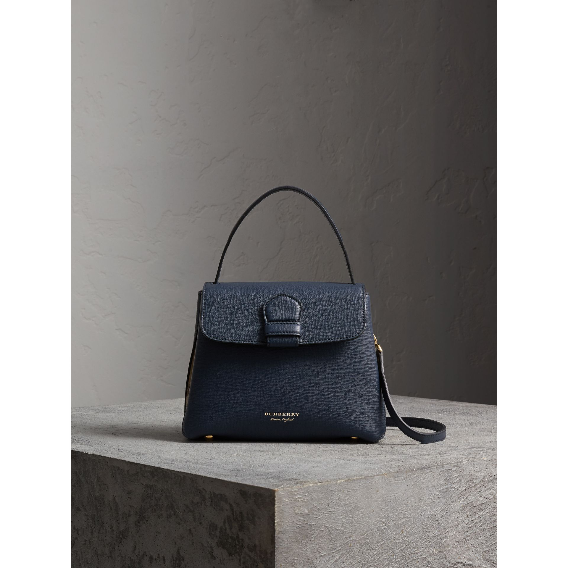 Small Grainy Leather and House Check Tote Bag in Ink Blue - Women | Burberry - gallery image 7