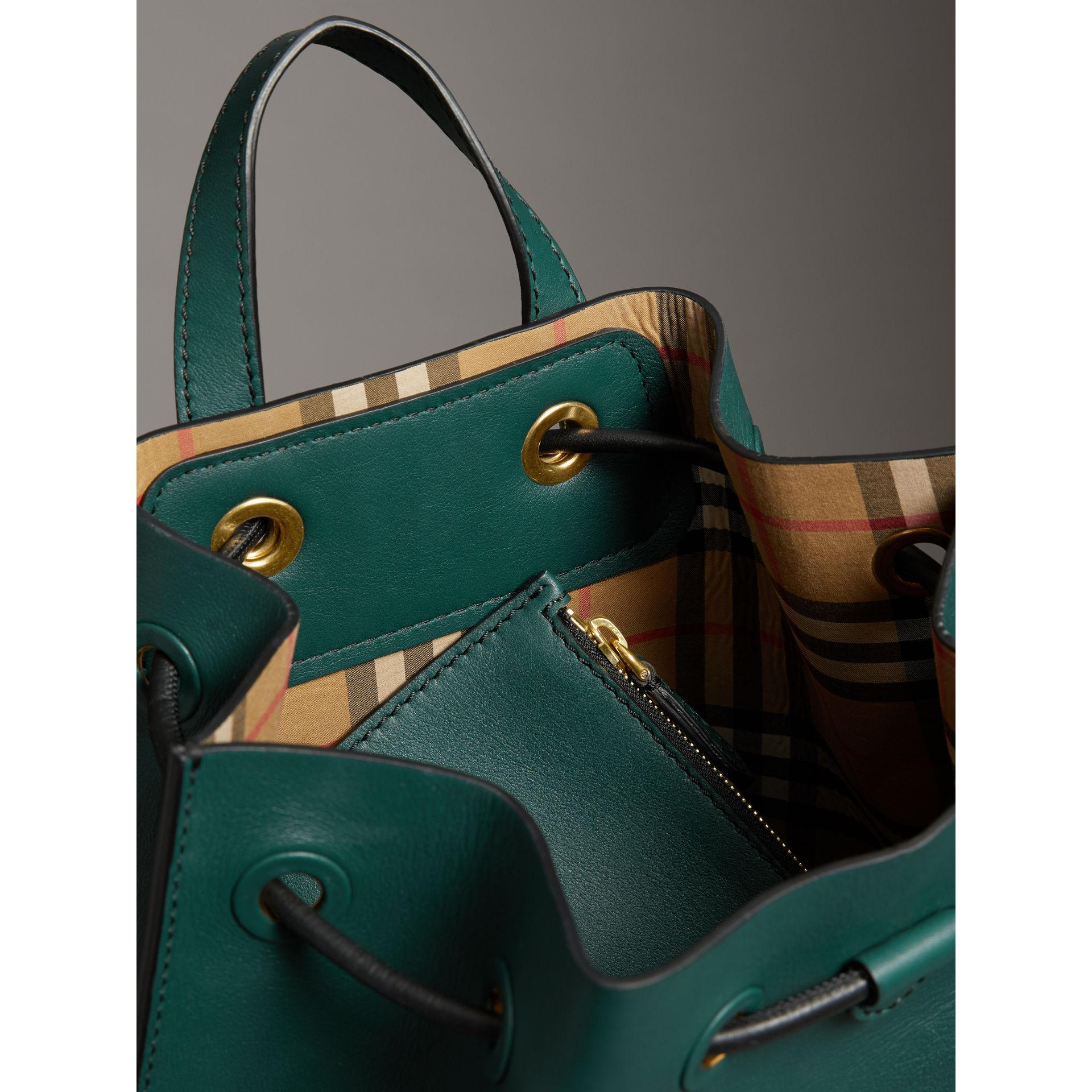 Graffiti Print Bonded Leather Drawcord Backpack in Deep Bottle Green - Men | Burberry Australia - gallery image 5