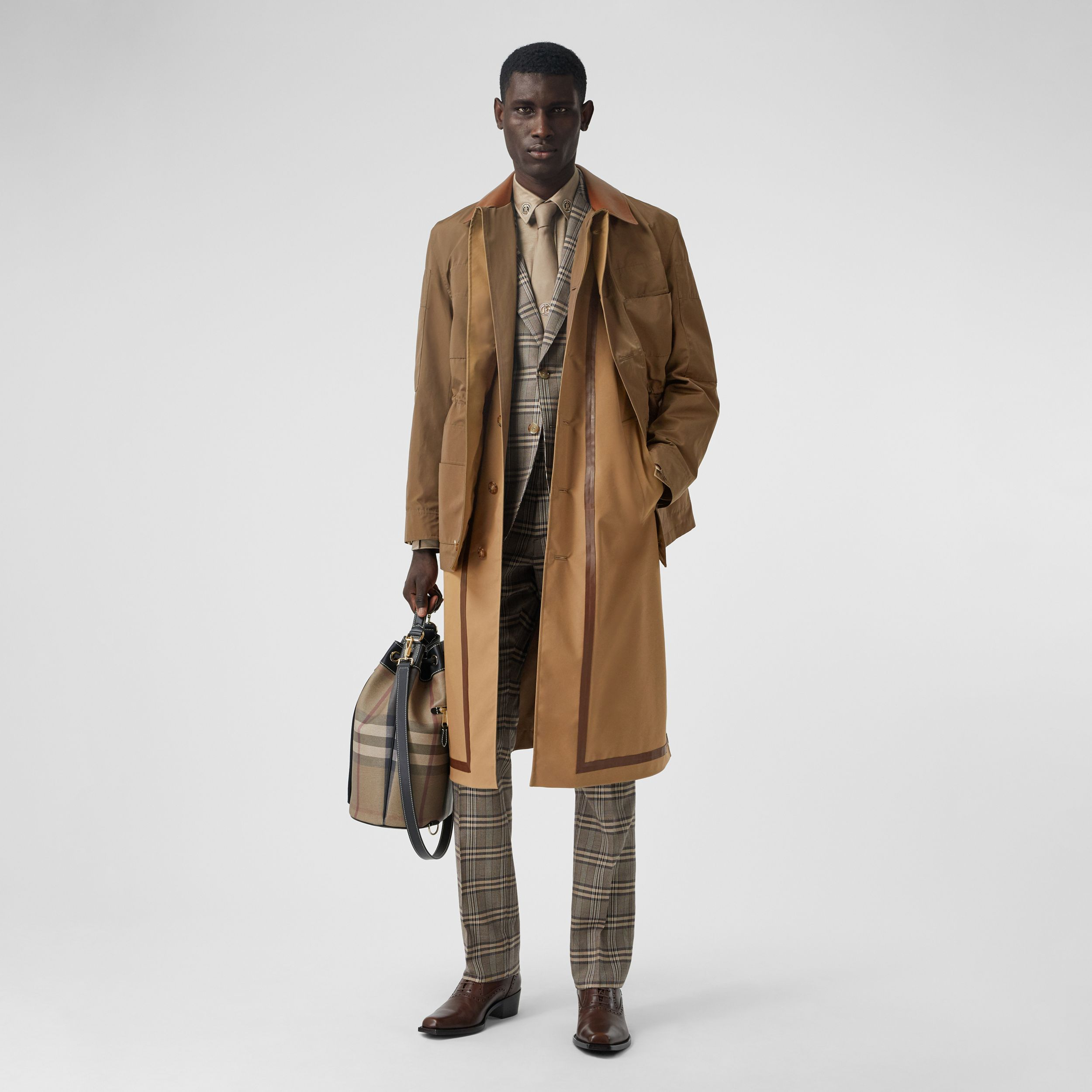 Field Jacket Detail Technical Cotton Car Coat in Dark Brown | Burberry - 1