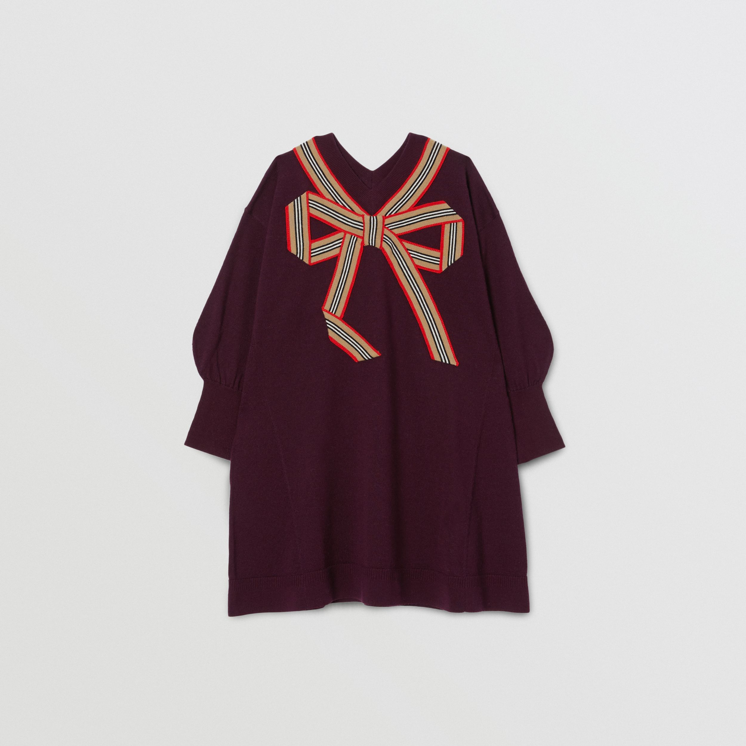 Icon Stripe Bow Merino Wool Silk Sweater Dress in Burgundy | Burberry - 1