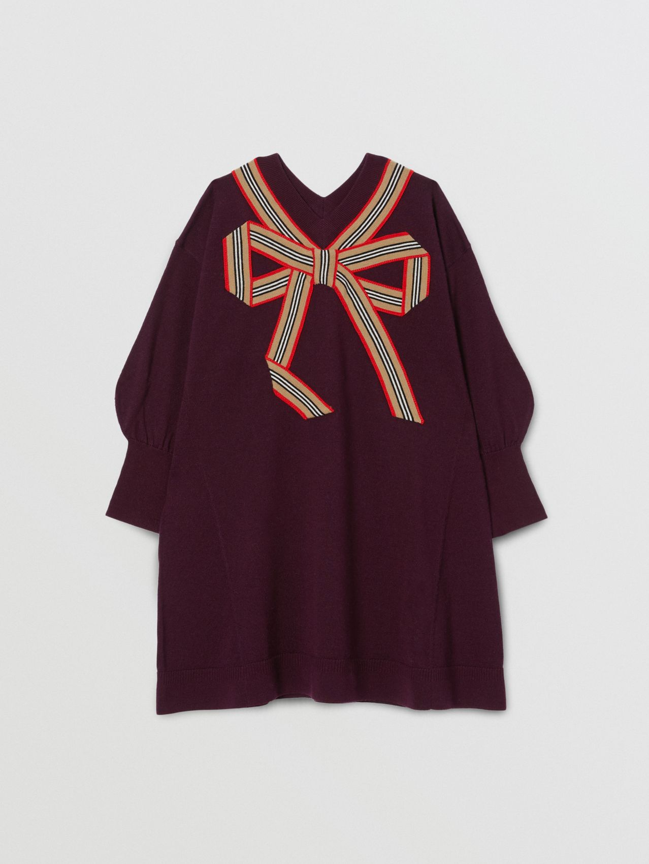 Icon Stripe Bow Merino Wool Silk Sweater Dress in Burgundy