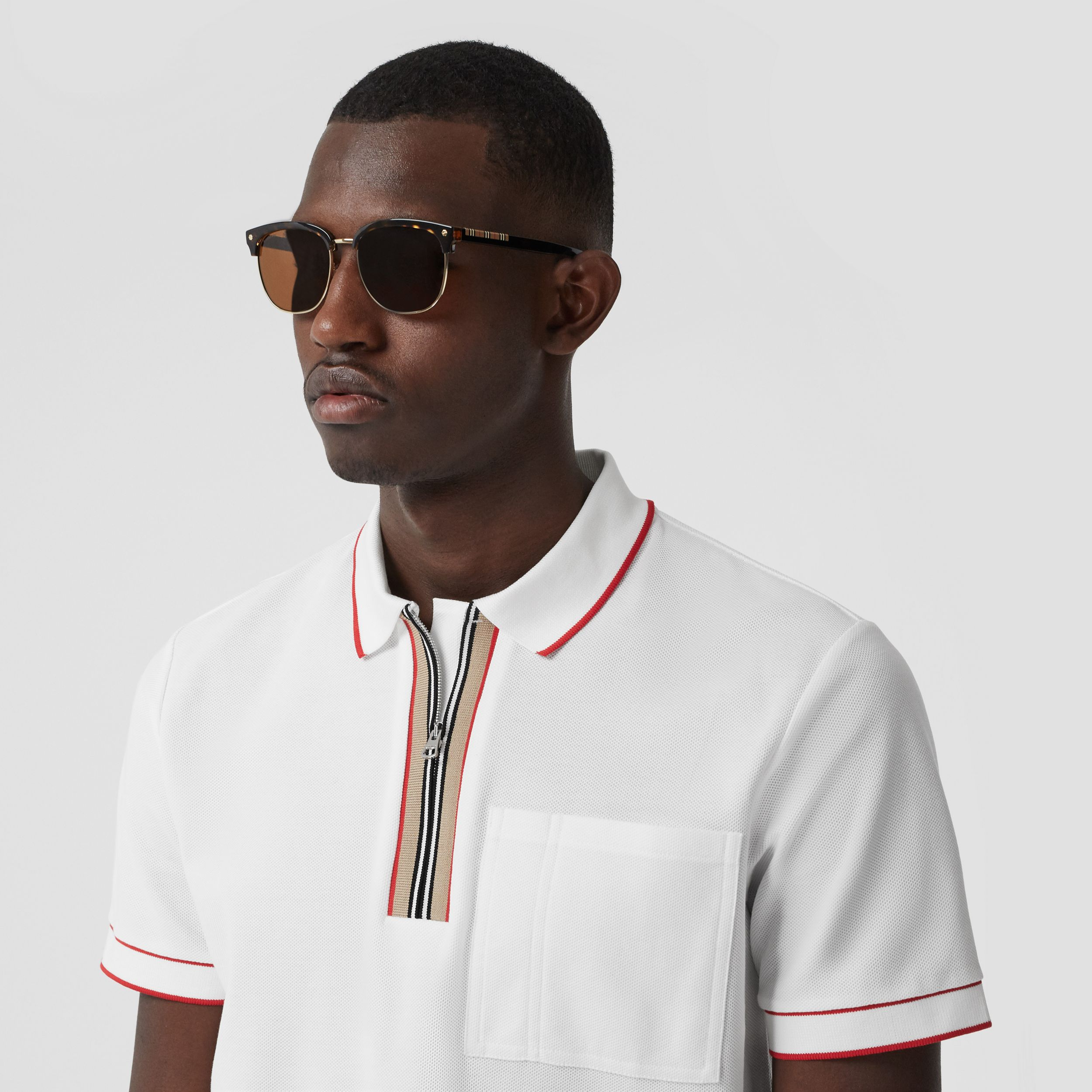 Icon Stripe Detail Cotton Zip-front Polo Shirt in White - Men | Burberry - 2