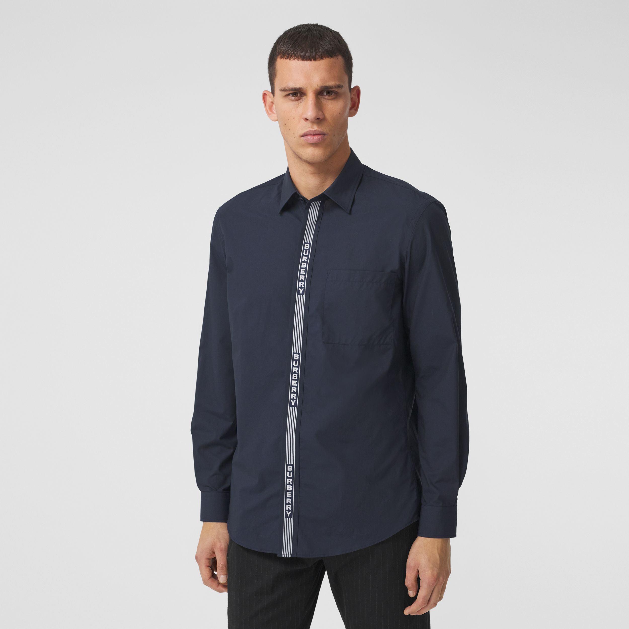 Logo Tape Cotton Shirt in Navy/white - Men | Burberry Hong Kong S.A.R. - 1