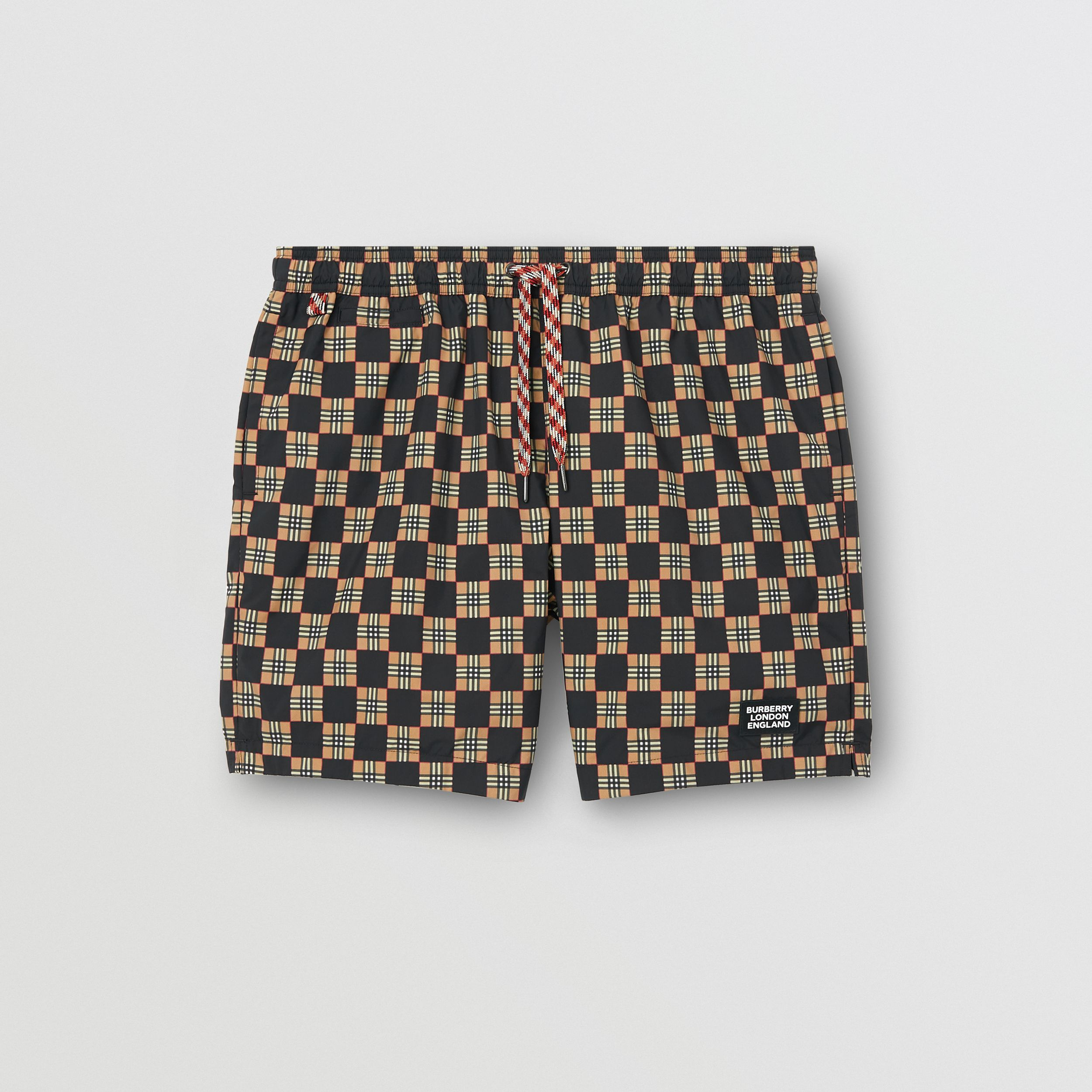Chequer Print Drawcord Swim Shorts in Archive Beige - Men | Burberry United Kingdom - 1