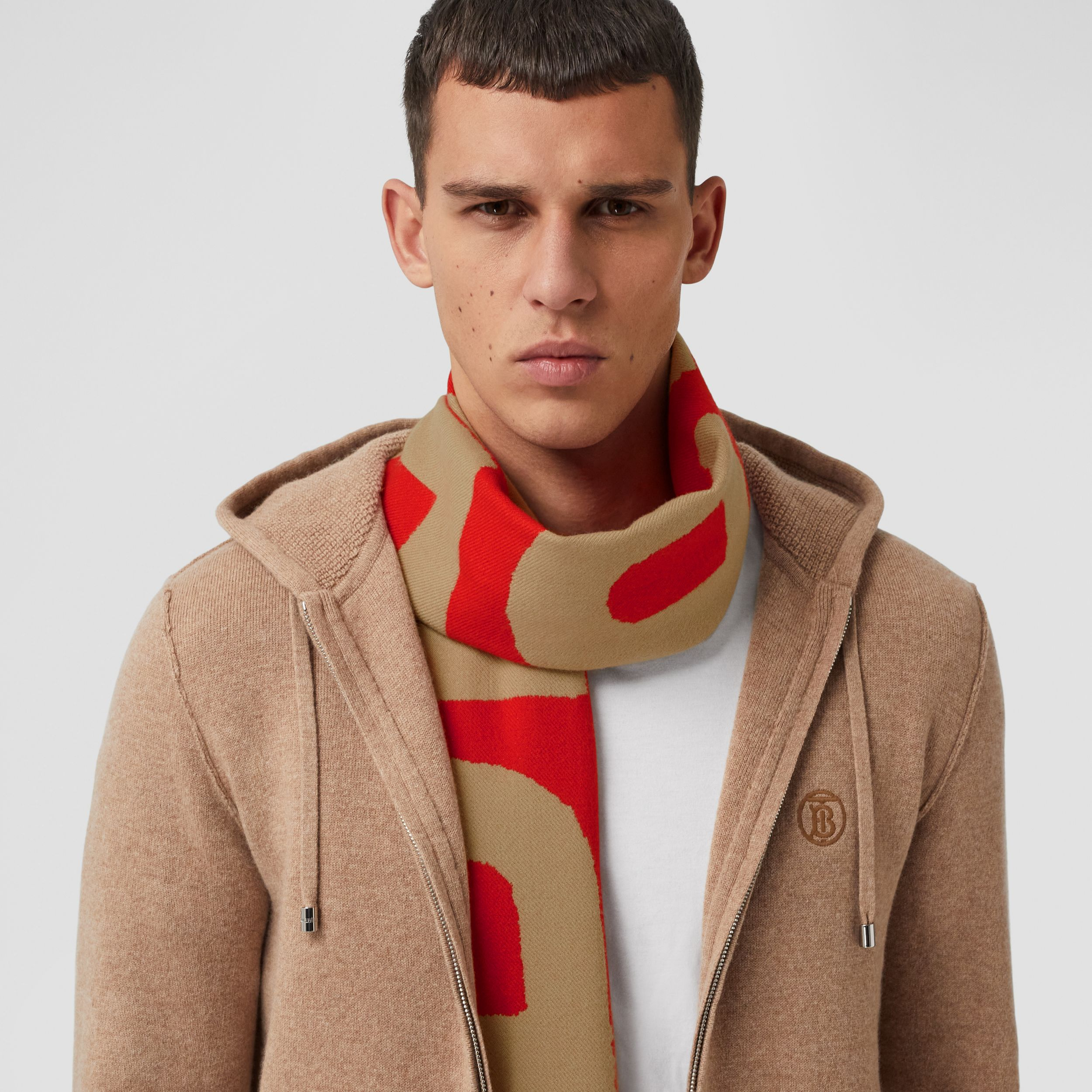 Logo Wool Jacquard Scarf in Archive Beige | Burberry - 4