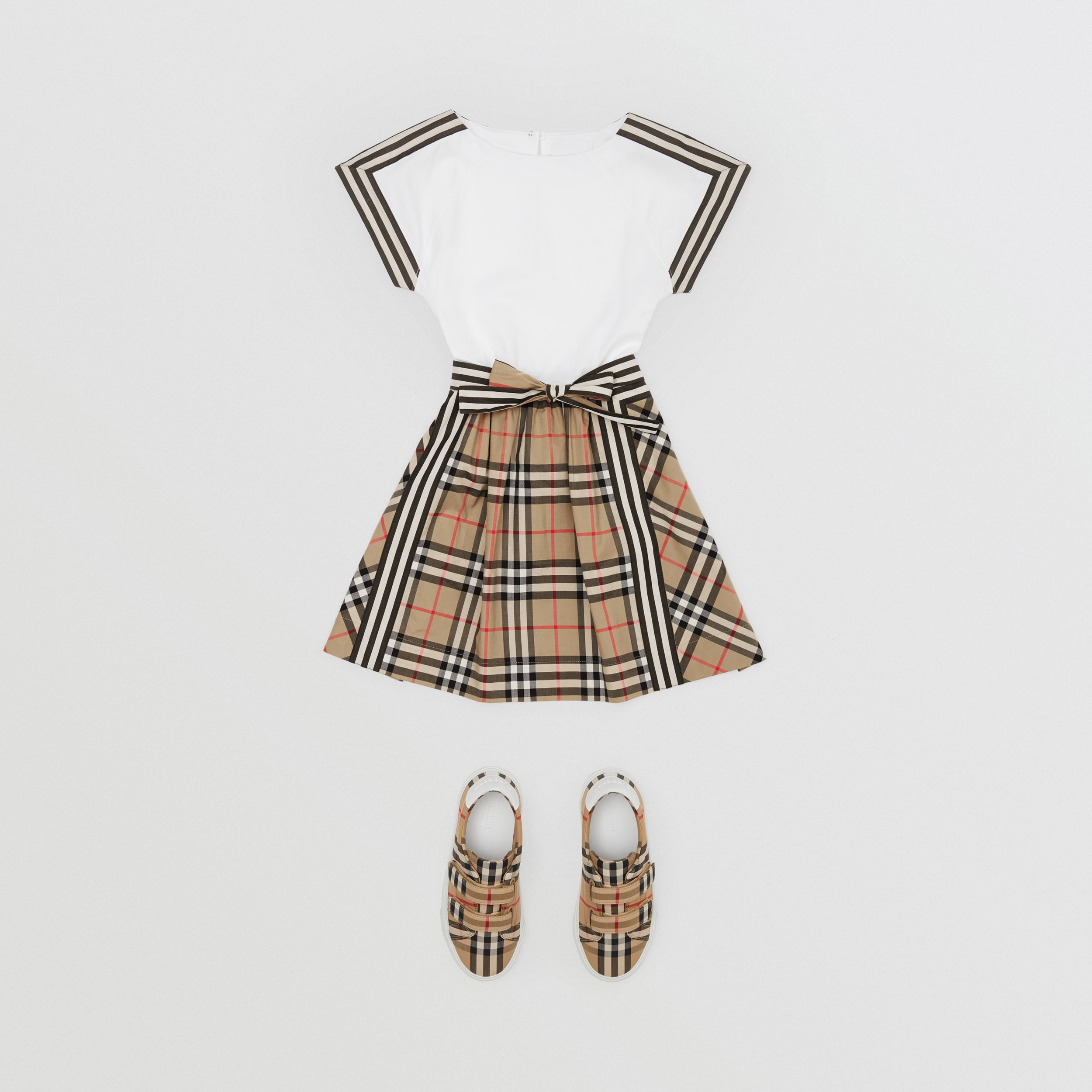 Vintage Check Detail Cotton Dress in Archive Beige | Burberry - 3