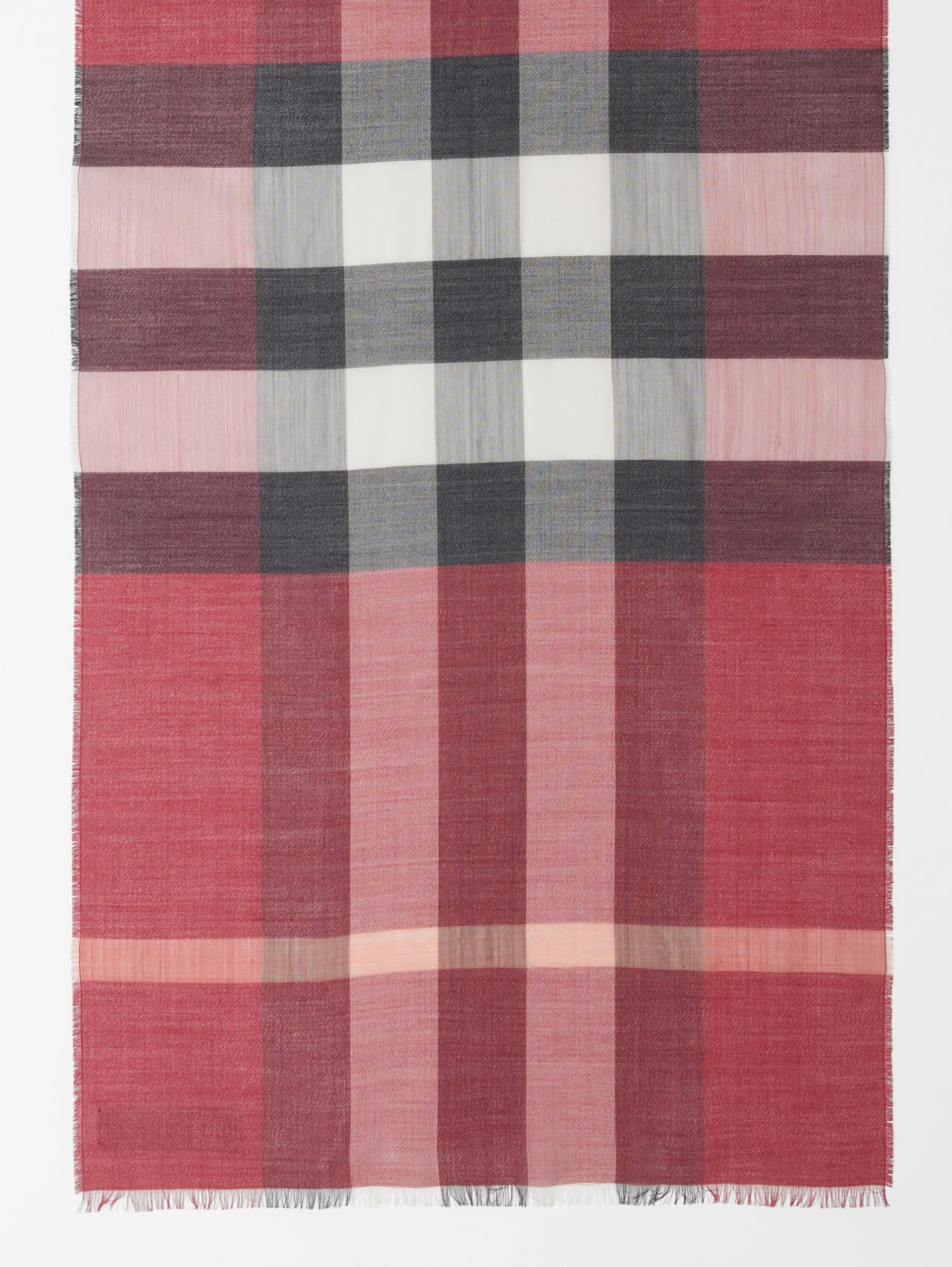 Lightweight Metallic Check Wool Silk Blend Scarf in Crimson Pink