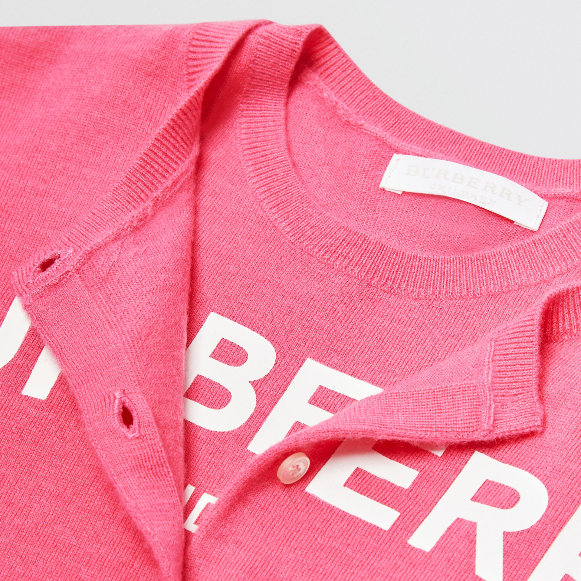 Logo Print Cashmere Two-piece Set in Fuchsia Pink | Burberry - gallery image 1
