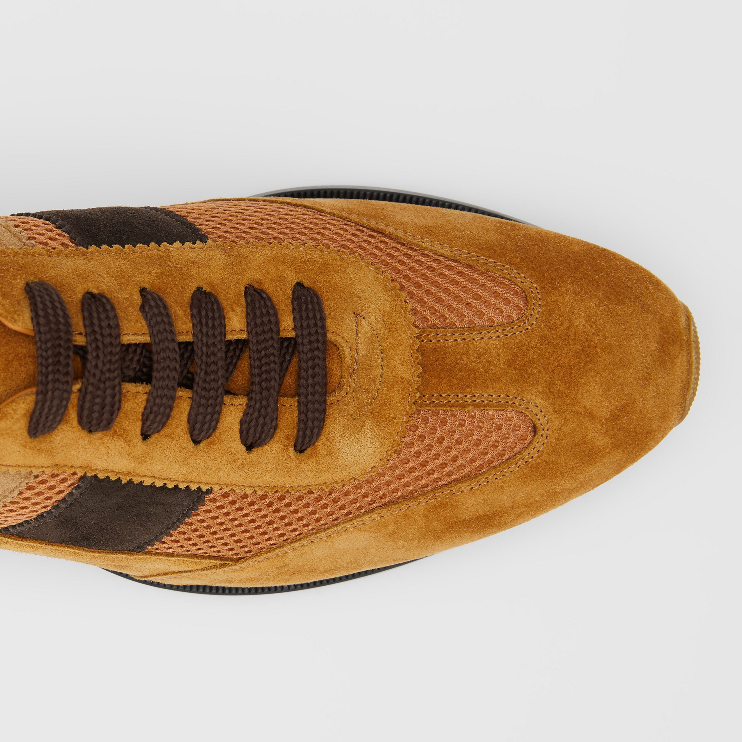 Mesh Panel Suede Lace-up Shoes in Mix Tan | Burberry - 2