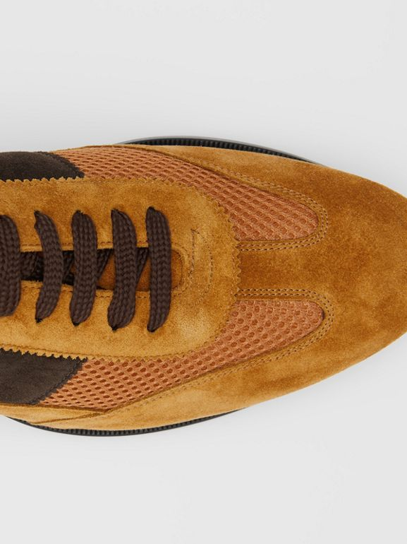 Mesh Panel Suede Lace-up Shoes in Mix Tan - Men | Burberry - cell image 1