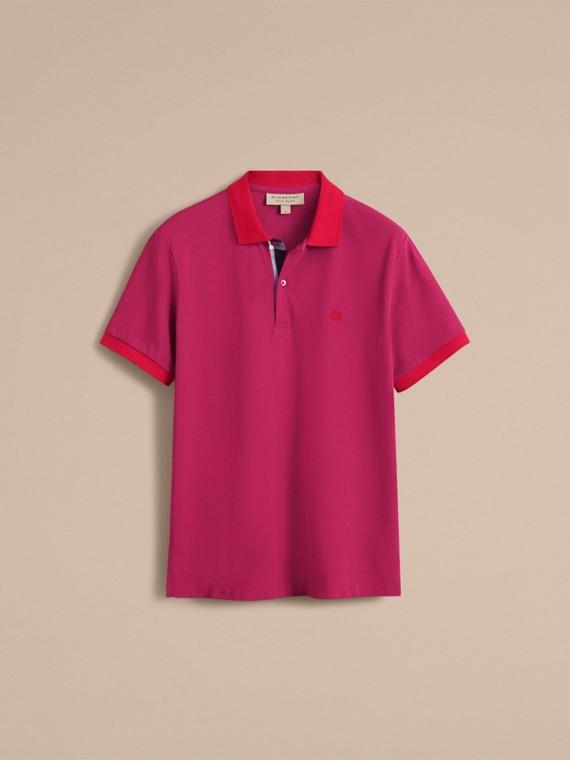Two-tone Check Placket Cotton Piqué Polo Shirt Raspberry Sorbet - cell image 3