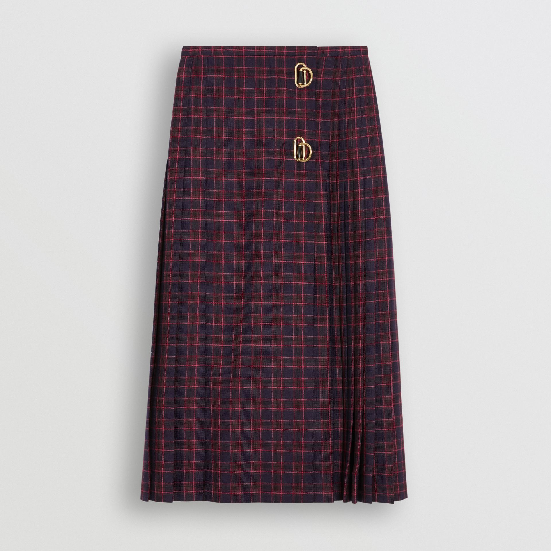 Tartan Wool Long Kilt in Navy - Women | Burberry - gallery image 3
