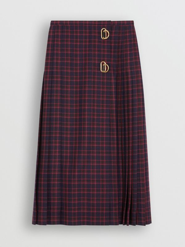Tartan Wool Long Kilt in Navy - Women | Burberry - cell image 2