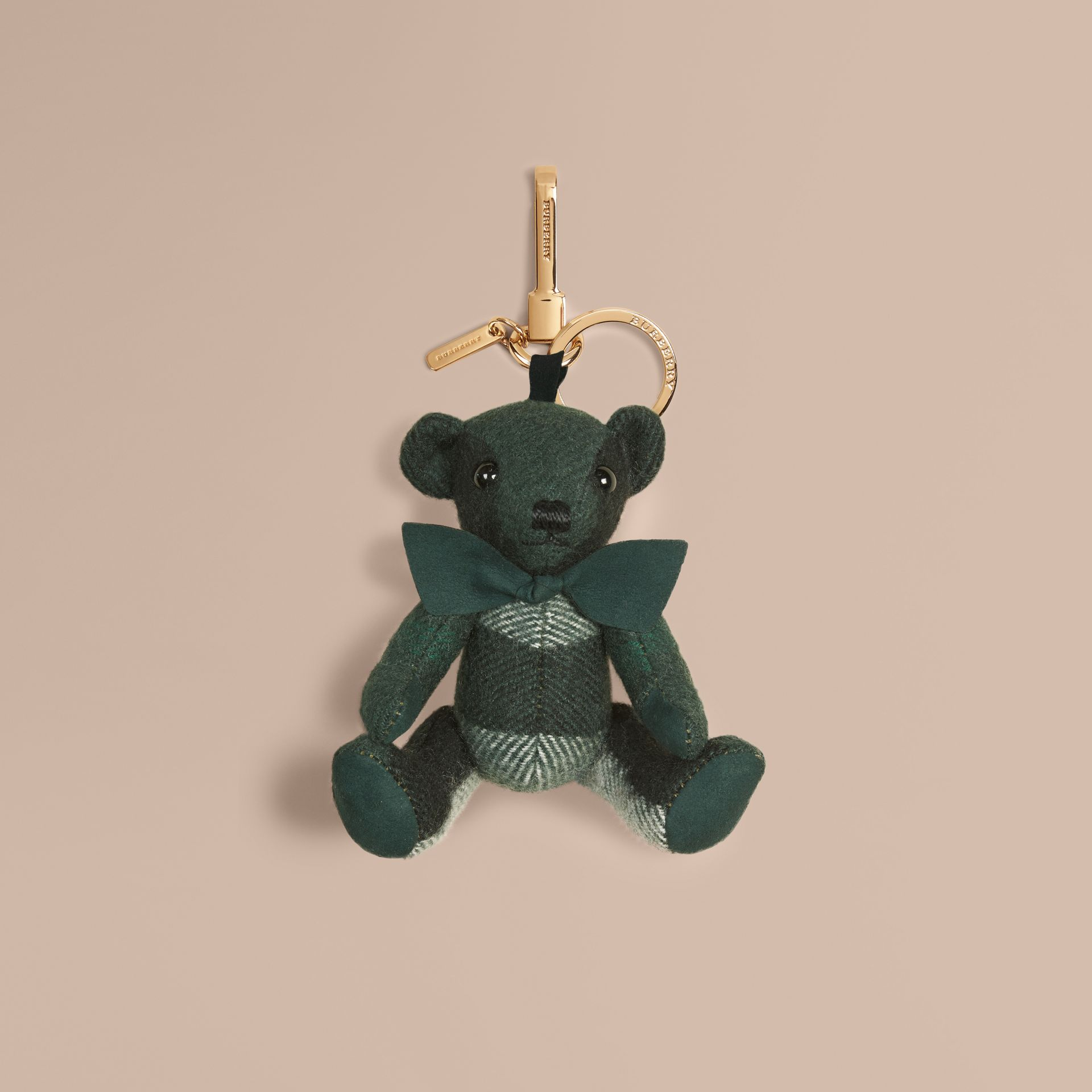 Thomas Bear Charm in Check Cashmere in Dark Forest Green - Men | Burberry - gallery image 1