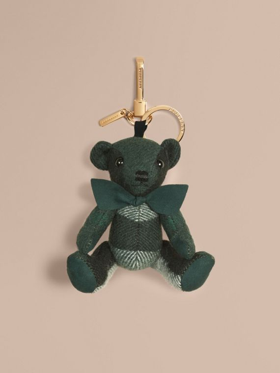 Thomas Bear Charm in Check Cashmere Dark Forest Green