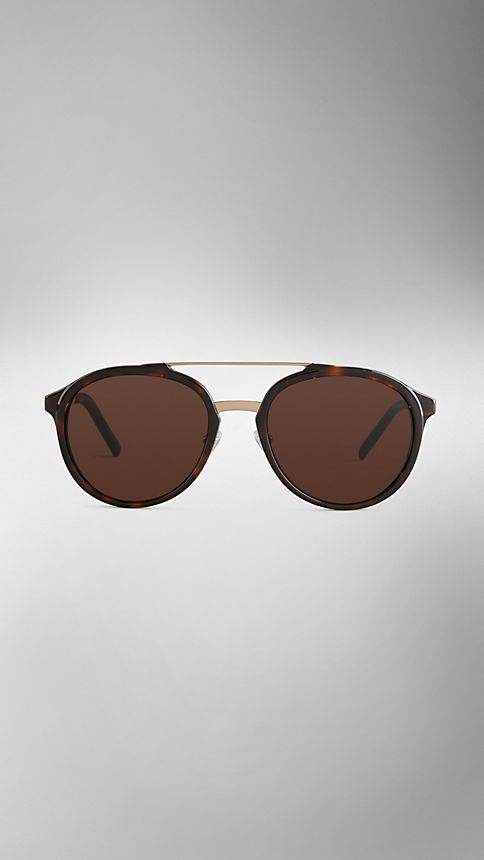 Tortoise shell Trench Collection Round Frame Sunglasses - Image 2