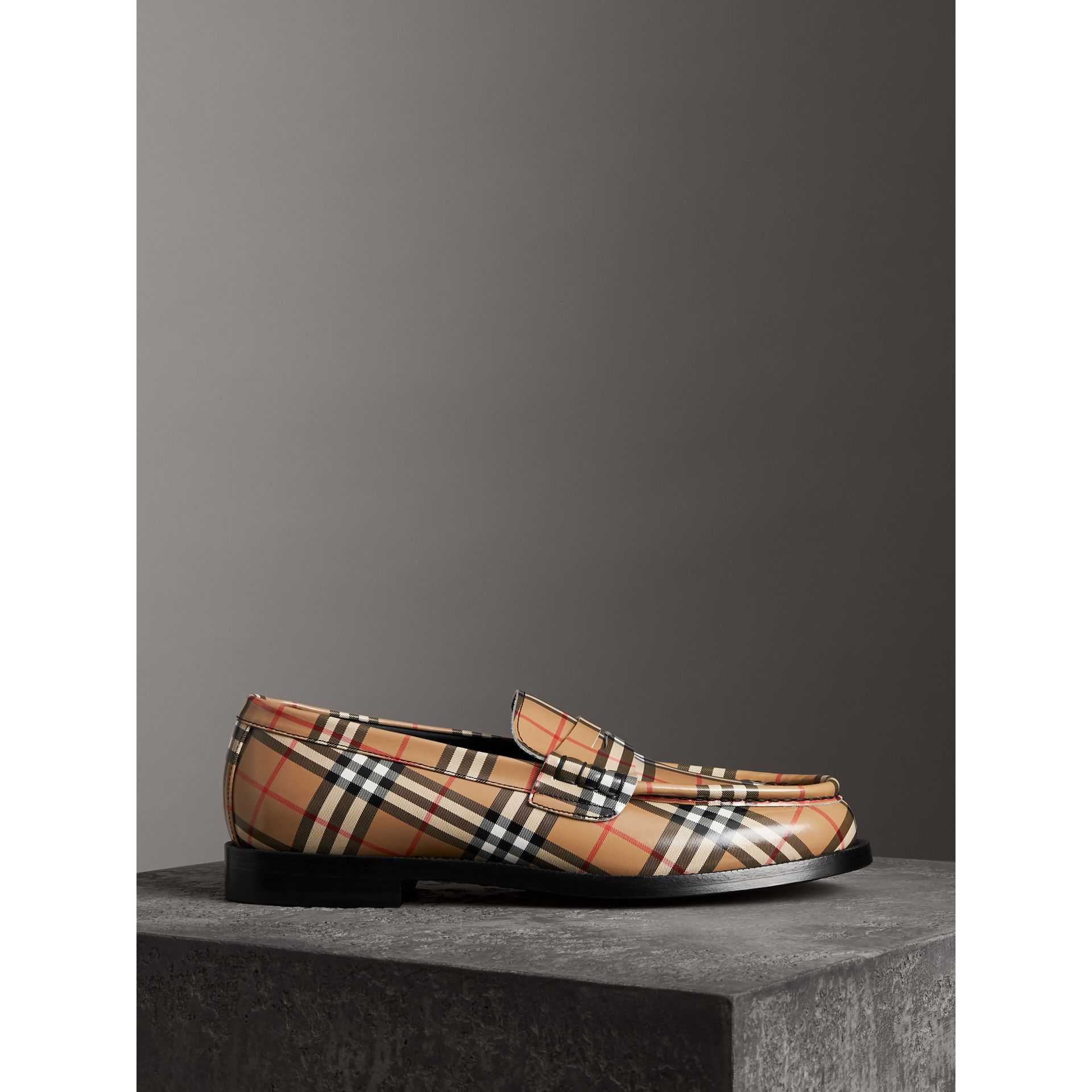 Gosha x Burberry Check Leather Loafers in Antique Yellow - Men | Burberry - gallery image 4