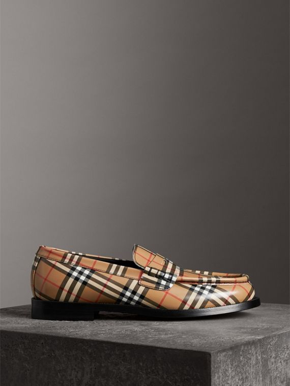Gosha x Burberry Check Leather Loafers in Antique Yellow