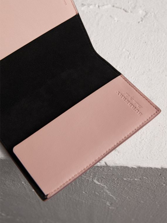 Embossed Leather Passport Holder in Pale Ash Rose - Women | Burberry - cell image 3